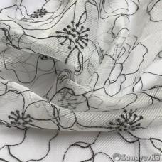 Тюль арт.Domtex 122 белый с чёрной вышивкой