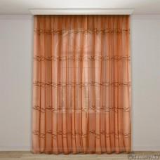Тюль арт.NIL 51 оранж c горизонтальной вышивкой