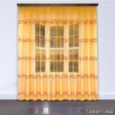 Тюль арт.NIL 52 оранжево-золотой c горизонтальной вышивкой